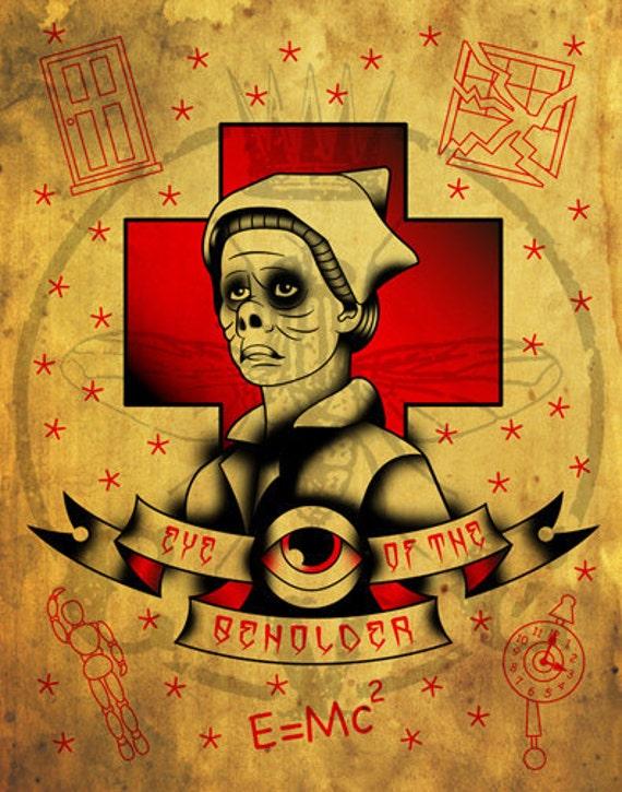 Twilight Zone Eye of the Beholder, creepy nurse tattoo flash digital painting watercolor paper print by Calvin Von Crush.