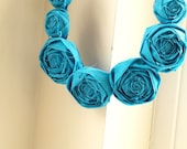 the modern pearl - rosette statement necklace - bright blue