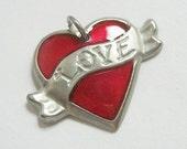 Handmade Tattoo Heart Love Charm - Pendant - Finding