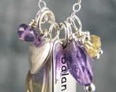 Yoga jewelry balance sterling silver charm necklace amethyst ametrine citrine