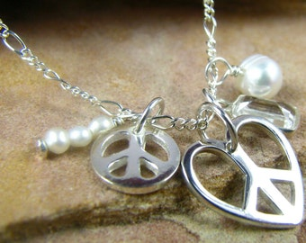 Survivor Jewelry, Peace Heart Charm Necklace, Chakra Jewelry, Sterling Silver