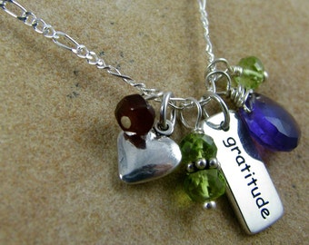 yoga jewelry gratitude sterling silver necklace charm gemstones