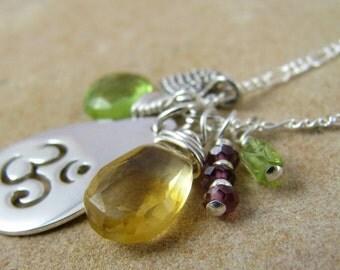 Yoga Necklace, Ohm Necklace, Yoga Jewelry, Ohm Jewelry, Ohm Charm, Sterling Silver, Ohm Symbol, Charm Necklace, Gemstone Necklace, Healing