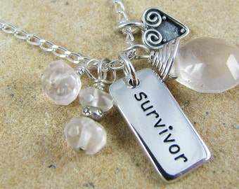 Survivor Necklace, Breast Cancer Jewelry, Silver Charm Necklace, Healing Rose Quartz, Healing Jewelry, Healing Necklace