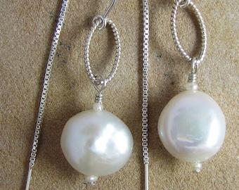Ear Threads Sterling Silver White Pearl Drop Earrings