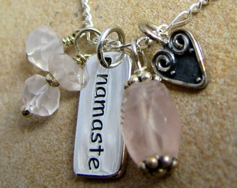 Namaste Necklace, Yoga Jewelry, Sterling Silver Charms, Healing Rose Quartz, Heart Chakra