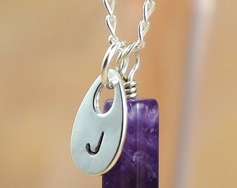 Hand Stamped Jewelry, Initial Charm Necklace, Personalized Jewelry