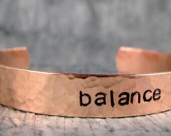 Hand Stamped Bracelet, Yoga Jewelry, Personalized Jewelry, Balance