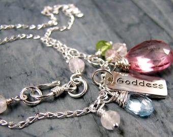 Goddess Jewelry, Survivor Necklace, Yoga Necklace, Chakra Jewelry, Goddess Charm Necklace, Sterling Silver