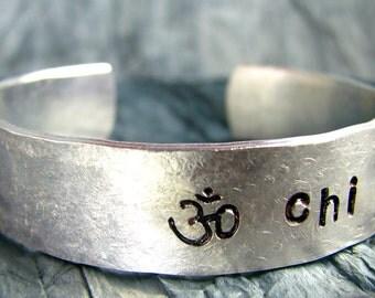 Hand Stamped Bracelet, Yoga Jewelry, Personalized Jewelry, Chi