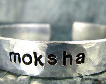 Hand Stamped Bracelet, Yoga Jewelry, Personalized Jewelry, Moksha
