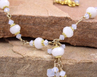 White Quartz Necklace Gold Wire Wrapped
