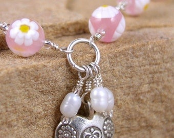 Venetian bead necklace pastel pink with white flowers Boho