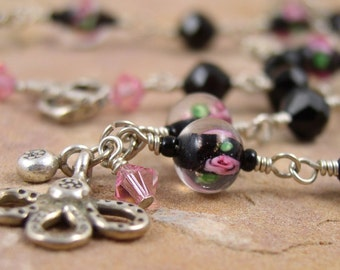 Glass Bead Necklace Sterling Silver Black and Pink Wire Wrapped