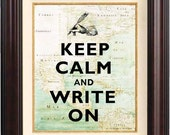 Keep calm and write on Print vintage Hand illustration, old map of East Cost of America reproduction, Keep calm wall art  map art