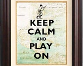 Keep calm and play on  Print on old map of East Cost of America reproduction. Keep calm wall art Poster 206 Old time baseball illustration