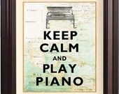 Keep calm and play piano  Print on old map of East Cost of America reproduction. Keep calm wall art Poster 205
