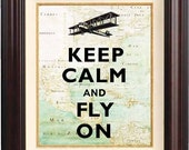 Keep calm and fly on Print, Keep calm art posters, on old map of east EU, Map art print, Keep calm collage wall hangings