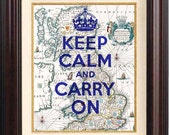 Keep calm and carry on Print  on old map of England - Britannia -  Keep calm wall art map wall art decor