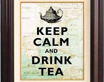 Keep calm and drink tea print,  keep calm poster, tea time, old XVII century map  East Cost of America, map art, keep calm and,