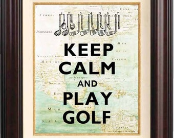 Keep calm and play golf  Print  on old map of East Cost of America reproduction. Keep calm wall art Poster 207