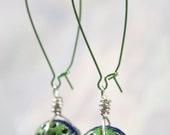 Green with Blue Stripe Enamel Wire Wrapped Long Earrings