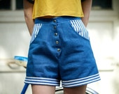 High Waisted Floral Denim Shorts - Reserved for stephjong
