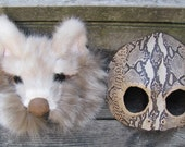Coyote and Snake, masquerade mask pair in salvaged fur and leather