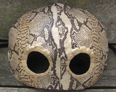 Snake masquerade mask in salvaged leather