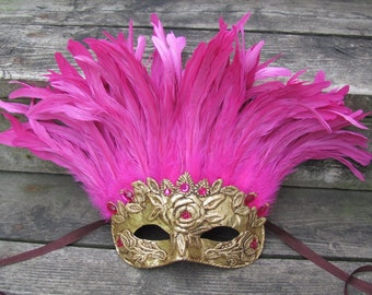 Venetian gold carnival mask with hot pink feathers, Blushed
