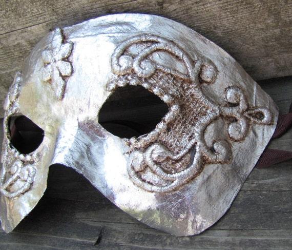 ornate silver Venetian half mask masquerade mask, Moonshine