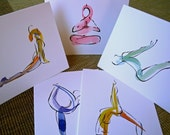 5 Yoga Notecards, Pack A