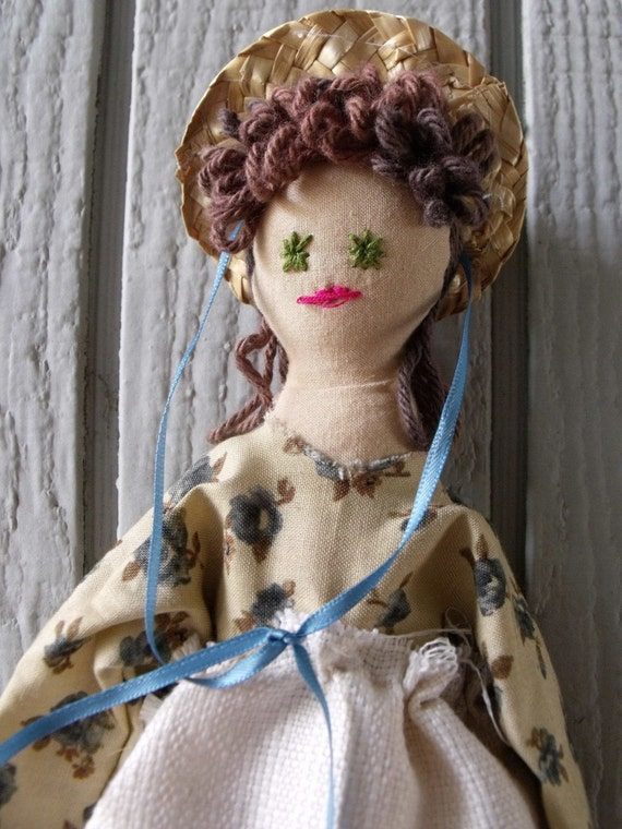 Sarah Jane - Girl Folk Art Primitive Rag Doll