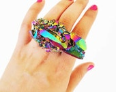 Rainbow quartz ring, SCILIA