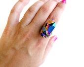 Titanium quartz druzy ring SCILIA