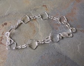 Bracelet Pyramid Link 7 Inch Italian Sterling Silver