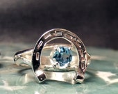 Horse Shoe Ring in Sterling Silver with any Birthstone RF129