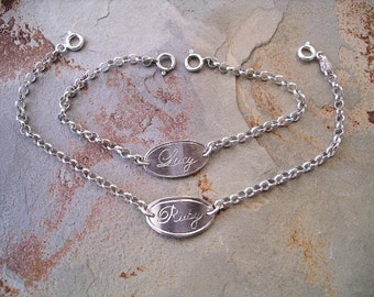 I D Bracelet in Sterling Silver For Babies, Kids, Teens or Adults Hand Engraved RF283