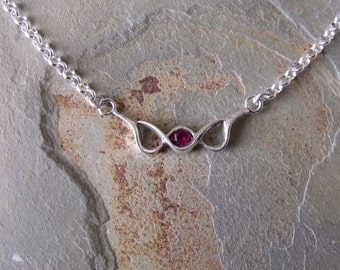 Created Ruby Sterling Silver Necklace RF209