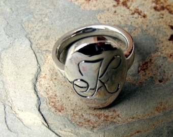 Initial Signit Ring Hand Engraved Sterling Silver RF286