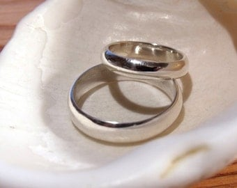 6mm & 4mm Wedding Bands Matching Sterling Silver RF298