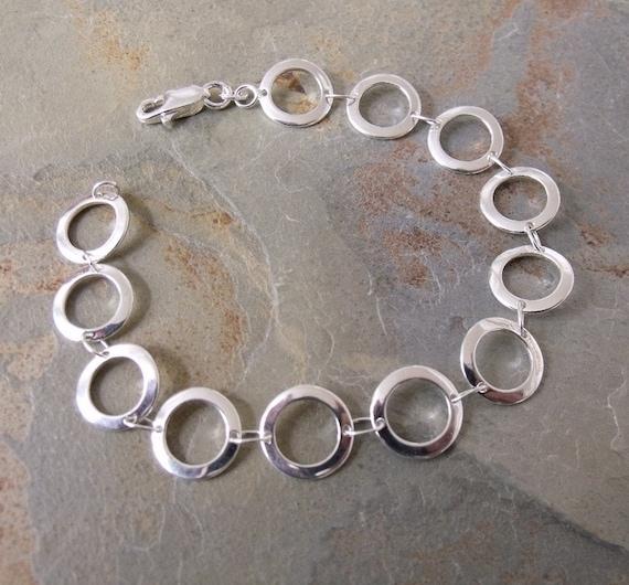 Bracelet of Circles Sterling Silver Italian 7 Inch