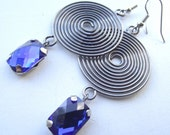 Cobalt Blue Gunmetal Swirl Earrings