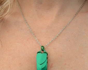 Green Scale Drop Scalemail Necklace, Chainmail Necklace, Scalemail Pendant