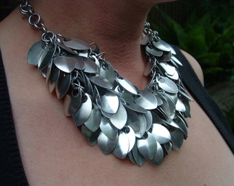 Dramatic Scale Statement Necklace, Aluminum Chainmail, Scalemail