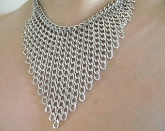 Glamorous Multistrand Necklace, Shiny Aluminum Chain Choker, Statement Necklace