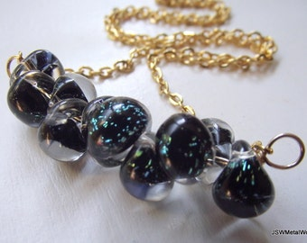 Speckled Black Glass and Gold Necklace, Gold Chain and Glass Pendant