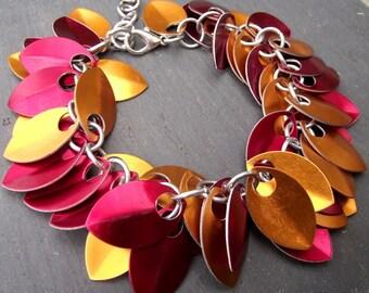 Red and Orange Aluminum Small Scale Shag Bracelet, Aluminum Bracelet, Aluminum Scalemail