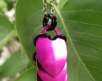 Aluminum Pink Scale Drop Necklace with a Touch of Black,  Scalemail, Chainmail