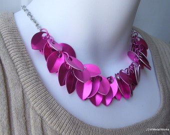 Pink Small Scale Shag Aluminum Necklace, Breast Cancer Awareness.Aluminum Necklace, Scalemail Necklace